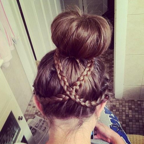 Criss Cross Bun – Long Hairstyles How To intended for Criss-Cross Braid Bun Hairstyles