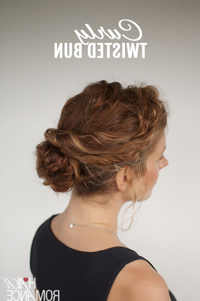Curly Hair Tutorial – Easy Twisted Bun Hairstyle – Hair Romance Regarding Simple Pony Updo Hairstyles With A Twist (View 17 of 25)