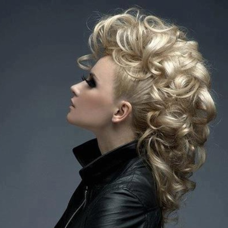 Curly Mohawk For Long Hair   Highlights Hair inside Curly Mohawk Updo Hairstyles