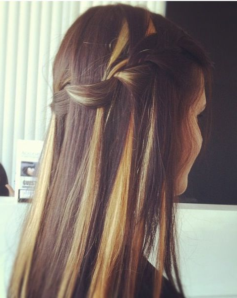 Dark Hair With Honey And Blonde Peekaboo Streaks In A Regarding Newest Peek A Boo Braided Hairstyles (View 16 of 25)