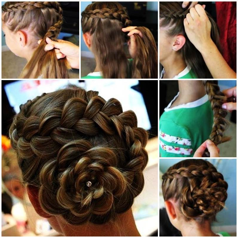 Diy Dutch Flower Braid Updo Hairstyle Inside Floral Bun Updo Hairstyles (View 25 of 25)
