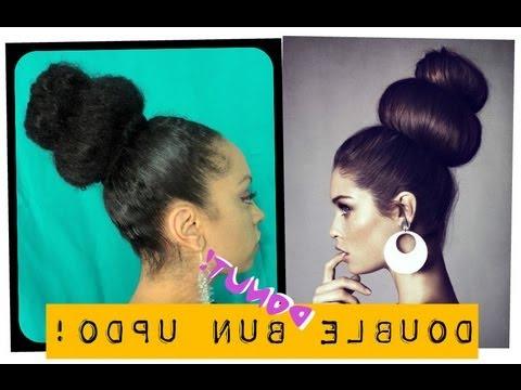 "Double ""donut"" Bun Updo! | Natural Hair Remix regarding Stacked Buns Updo Hairstyles"