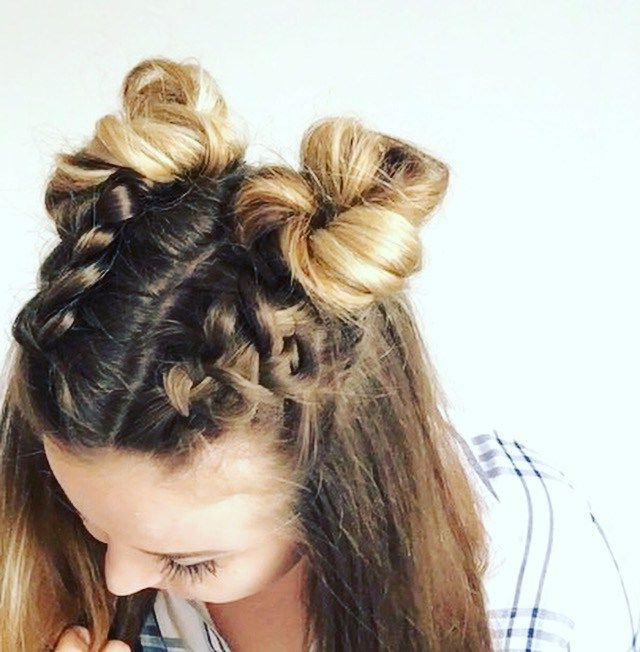 Double Dutch Braid Buns Half Up Hairstyle | Hurr | Braided With Dutch Braid Updo Hairstyles (View 11 of 25)
