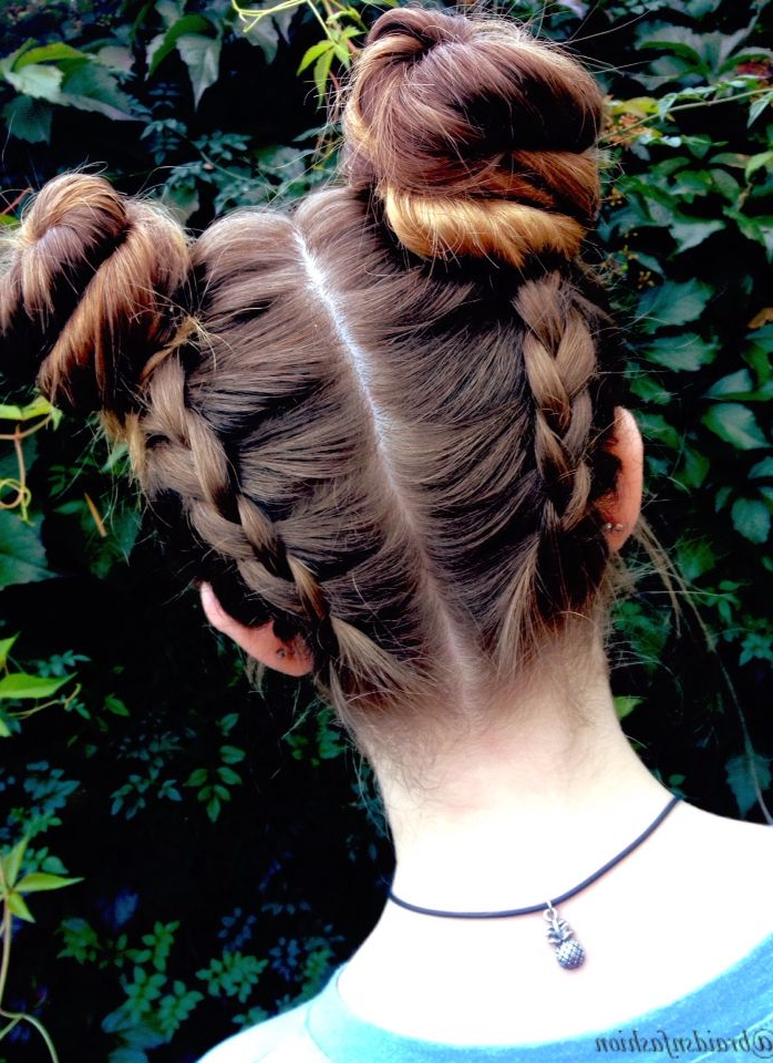 Featured Photo of Braided Space Buns Updo Hairstyles