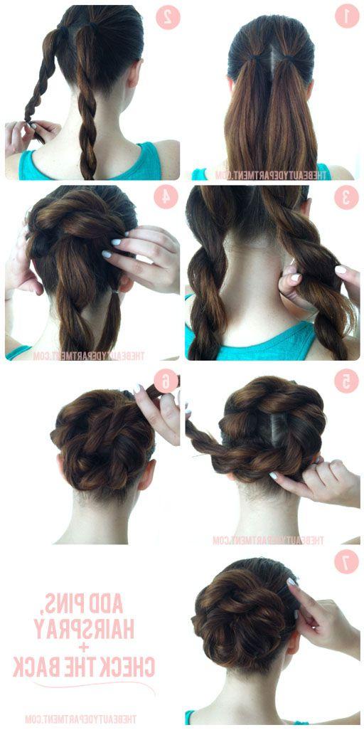 Double Rope Braid Bun | Hair Tutorials | Hair Styles, Hair in Twisted Rope Braid Updo Hairstyles