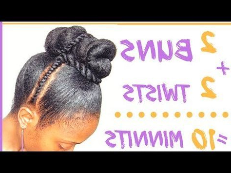 Double Twisted Bun Updo Tutorial | Quick Protective Style On With Double Twist Bun Updo Hairstyles (View 15 of 25)