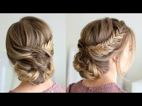 Draped Fishtail Updo | Missy Sue - Youtube intended for Teased Fishtail Bun Updo Hairstyles