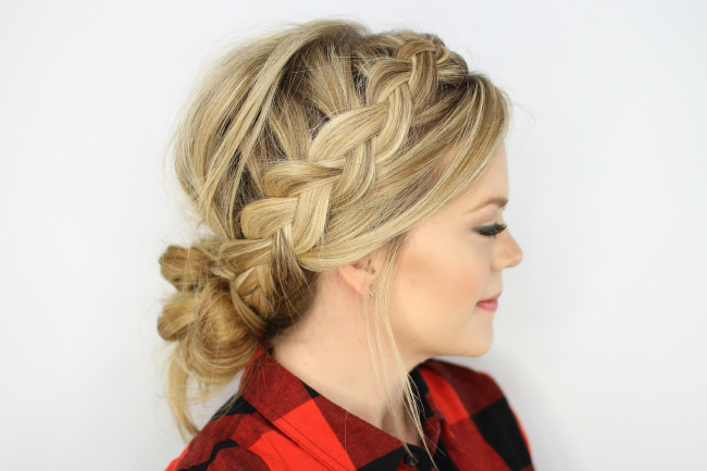 Dutch Braids And Low Messy Bun Intended For Messy Bun Hairstyles With Double Headband (View 7 of 25)