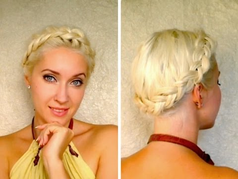 Dutch Crown Braid Tutorial For Medium Long Hair Milkmaid Braids Shoulder Length Updo Hairstyle With Regard To Recent Milkmaid Crown Braided Hairstyles (View 10 of 25)