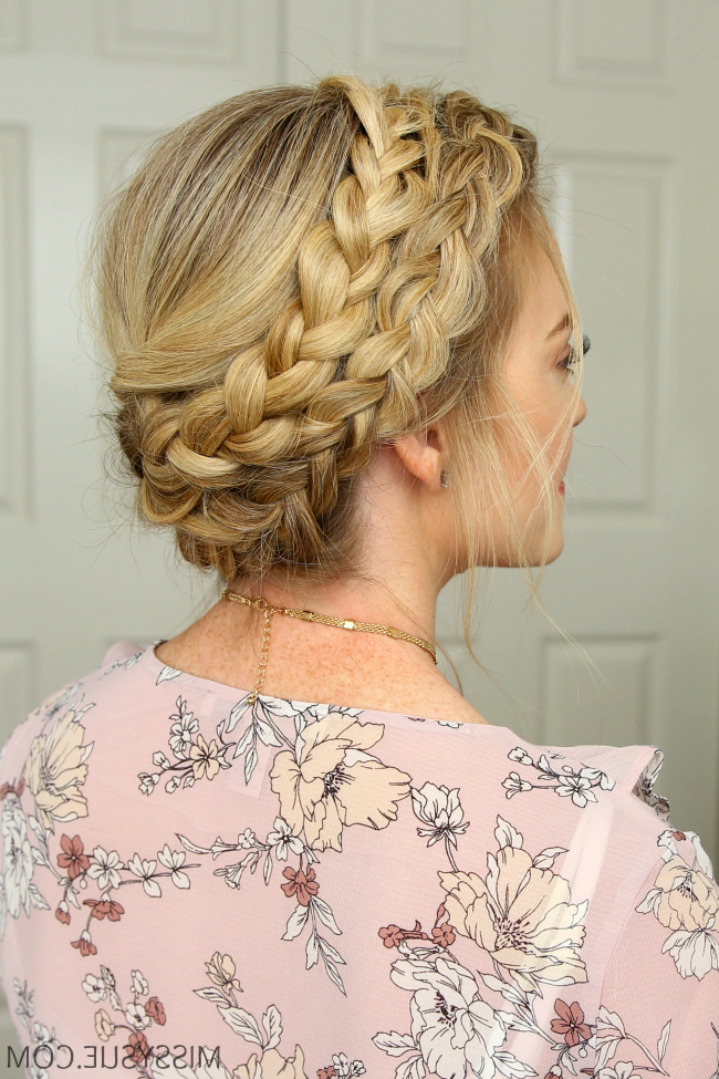 Dutch Milkmaid Braids | Hair Tutorials | Bridal Hair Updo Within Newest Milkmaid Crown Braided Hairstyles (View 9 of 25)