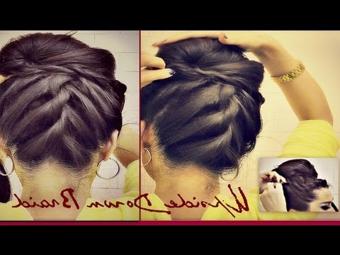 ?Hairstyles |Korean Bun Upside Down Braided Bun Updo French Rope Braid For Medium Long Hair Tutorial With French Braid Buns Updo Hairstyles (View 22 of 25)