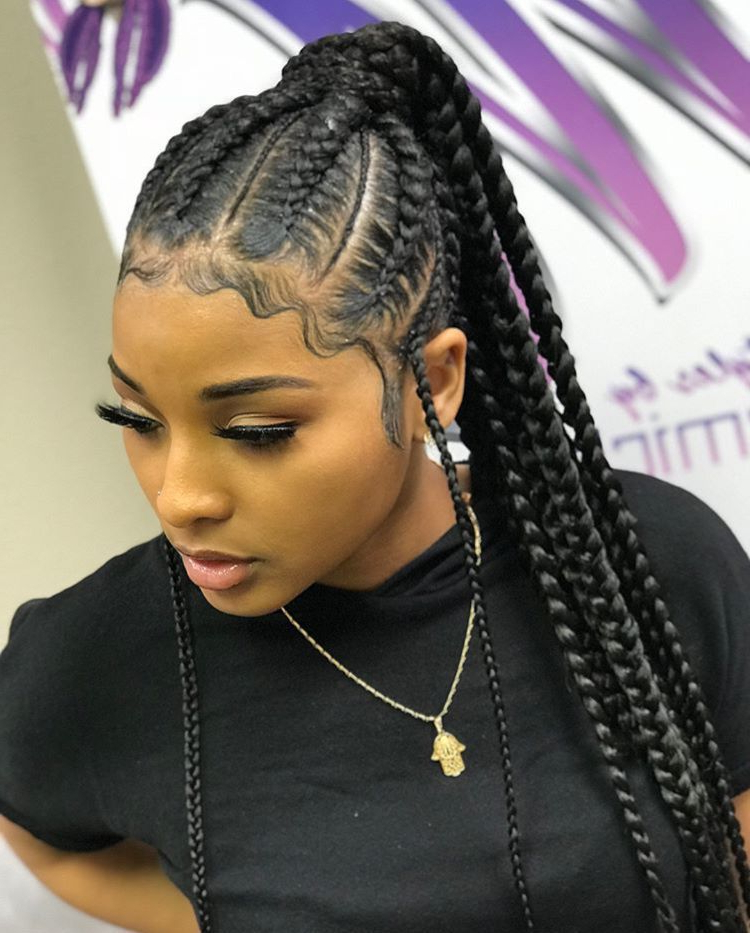 ?|Lips Mwah|? #weavehairstylesbraids | Weave Hairstyles Throughout Cornrow Braids Hairstyles With Ponytail (View 5 of 25)