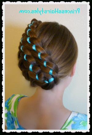 Easter Hairstyles – Diagonal Stacked Ribbon Braid Updo Throughout Stacked Buns Updo Hairstyles (View 25 of 25)