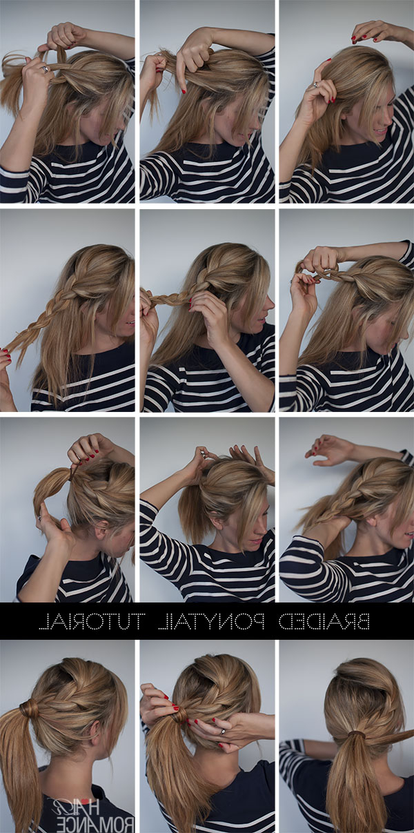 Easy Braided Ponytail Hairstyle How To – Hair Romance Inside Romantic Ponytail Updo Hairstyles (View 14 of 25)