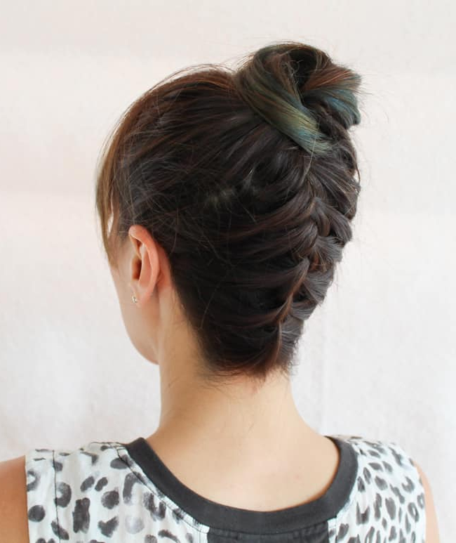 Easy Braided Top Knot Tutorial | Helloglow (View 21 of 25)