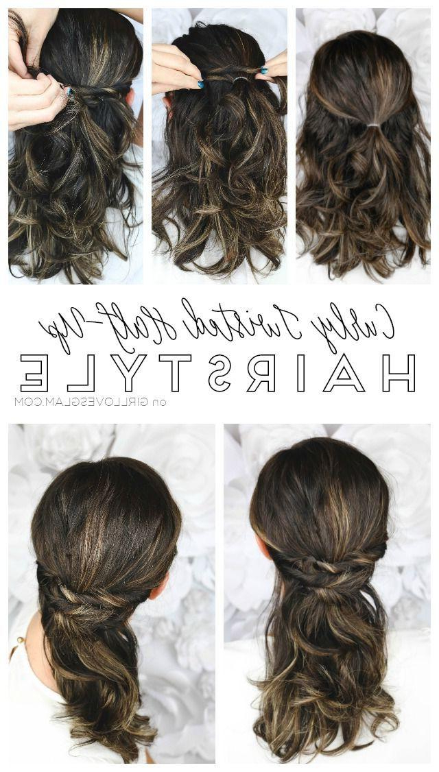 Easy Curly Twisted Half Up Hairstyle With The Conair Curl For Curled Half Up Hairstyles (View 13 of 25)