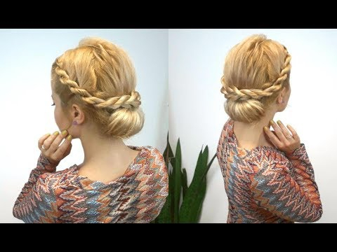 Easy Hairstyle French Rope Braided Bun | Awesome Hairstyles ? In Twisted Rope Braid Updo Hairstyles (View 11 of 25)