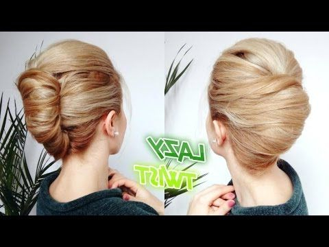 Easy Lazy Hairstyle Quick French Twist Bun Updo | Awesome In Simple Pony Updo Hairstyles With A Twist (View 5 of 25)