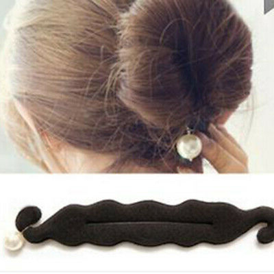 Eb  Women Faux Pearl Sponge Disk Hair Clip Donut Quick Messy Bun Updo  Hairstyle | Ebay For Pearl Bun Updo Hairstyles (View 16 of 25)