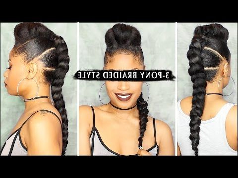 Edgy 3 Pony Braided Style ???? | I Am Not My Hair | Braided With Regard To Braided Ponytails Updo Hairstyles (View 2 of 25)