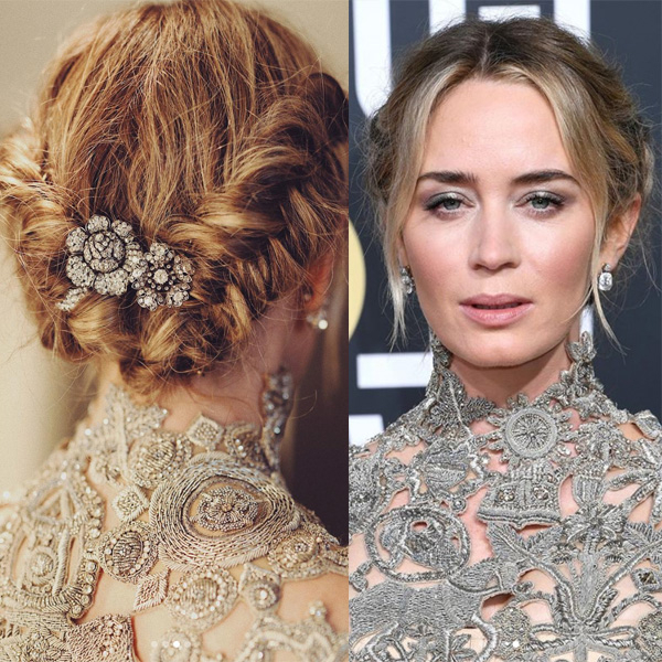 Emily Blunt's Textured Dutch Braid Halo – Behindthechair Inside 2020 Halo Braided Hairstyles With Long Tendrils (View 25 of 25)