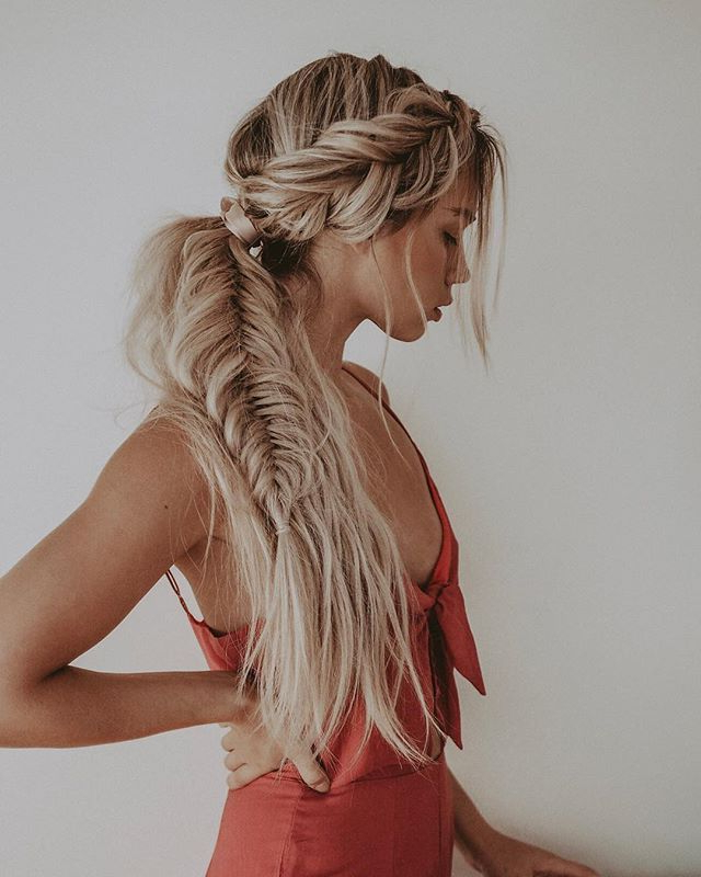 Fishtail Braided Ponytail On Rooted Blonde Hair // Kirsten With Current Ponytail Fishtail Braided Hairstyles (View 10 of 25)