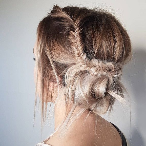 Fishtail Braided Updo Hairstyle Inspiration,messy Updo With Regard To Best And Newest Messy Crown Braided Hairstyles (View 11 of 25)