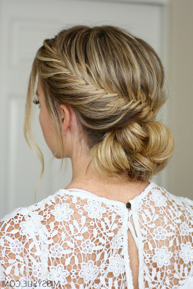 Fishtail French Braid Low Bun | Missy Sue within Recent French Braid Low Chignon Hairstyles
