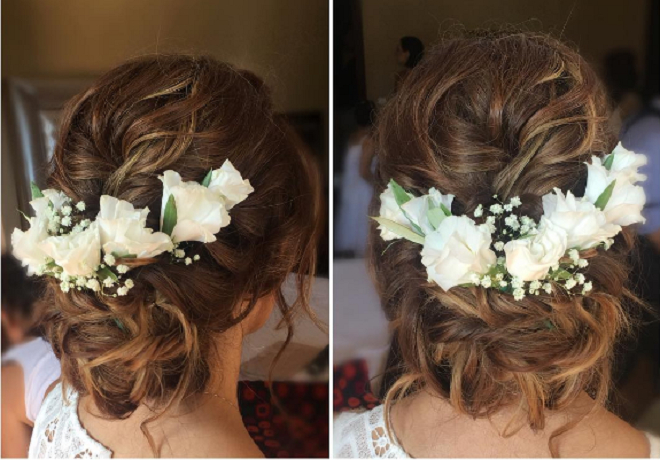 Floral Chignon Braided Messy Bun Updo Hairstyle Wedding Regarding Floral Bun Updo Hairstyles (View 12 of 25)