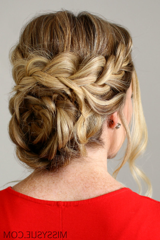 Flower Braid Updo For Latest Braided Chignon Bun Hairstyles (View 20 of 25)