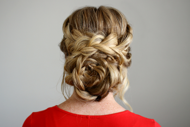 Flower Braid Updo In Floral Bun Updo Hairstyles (View 21 of 25)