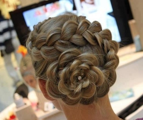 Formal Braided Rose Chignon – Elegant Updo For Prom – Pretty With Best And Newest Braided Chignon Bun Hairstyles (View 24 of 25)