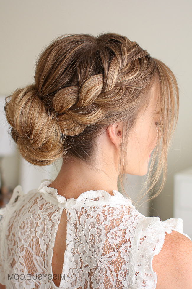 French Braid Low Bun | Missy Sue throughout Most Recent French Braid Low Chignon Hairstyles
