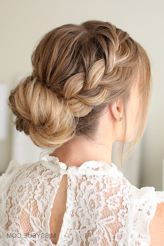 French Braid Low Bun | Missy Sue with regard to Most Current French Braid Low Chignon Hairstyles