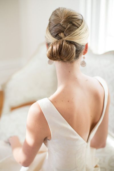 French Braided Chignon Wedding Hairstyle | Deer Pearl Flowers With Recent Braided Chignon Hairstyles (View 14 of 25)