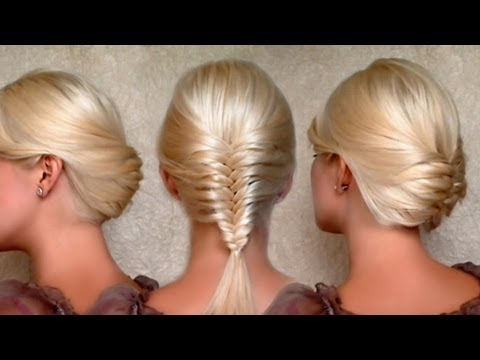 French Fishtail Braid And Christmas, New Year's Eve Updo Hairstyles Medium Long Hair Tutorial regarding Fishtail Braid Updo Hairstyles