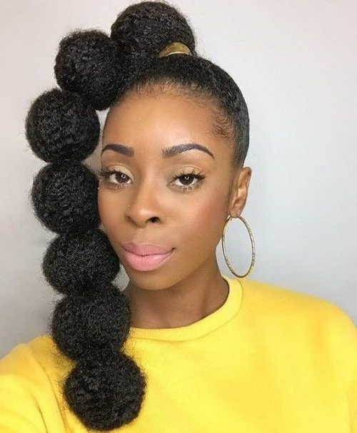 Gorgeous High Ponytail Hairstyles For Black Women pertaining to Natural Bubble Ponytail Updo Hairstyles