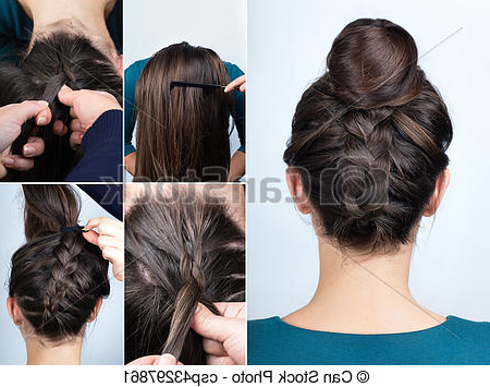 Hairstyle Braid Bun Tutorial Intended For Reverse French Braid Bun Updo Hairstyles (View 21 of 25)
