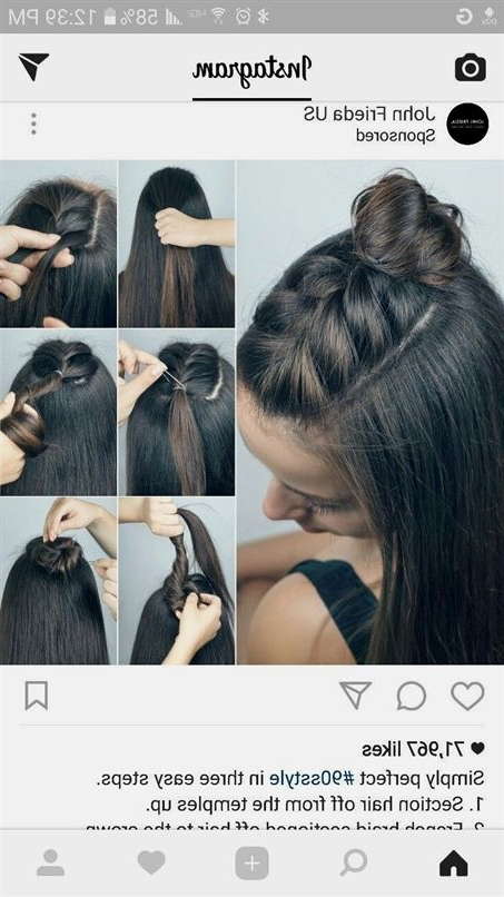 Half Up Braid Top Knot #promhair | Hair Color In 2019 | Hair In Latest Braided Top Knot Hairstyles (View 20 of 25)