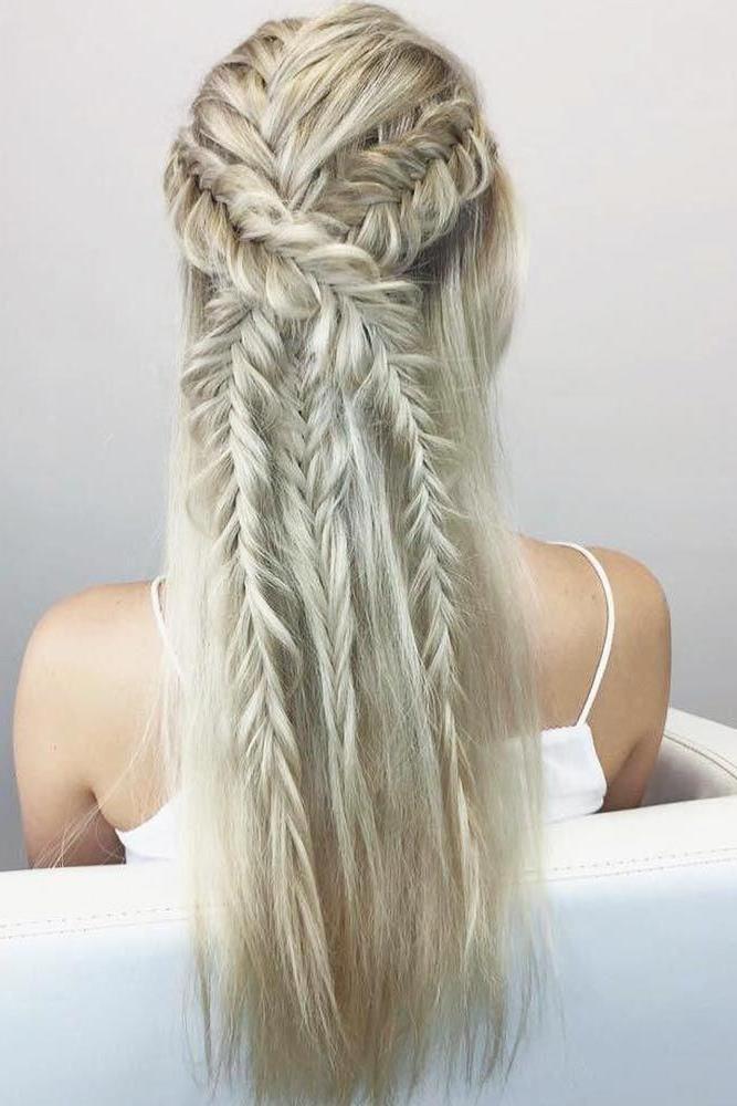 Half Up Hairstyles With Fishtail Braids #braids #halfup Within Braided Half Up Hairstyles (View 22 of 25)