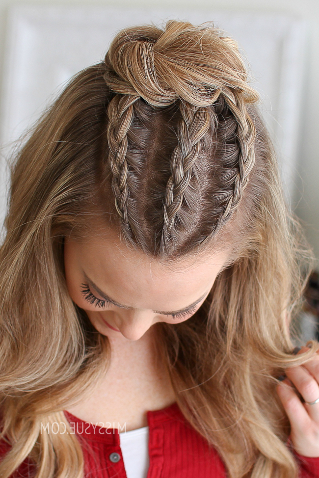 Half Up Triple Braid Mini Bun | Missy Sue For Newest Three Strand Pigtails Braided Hairstyles (View 8 of 25)