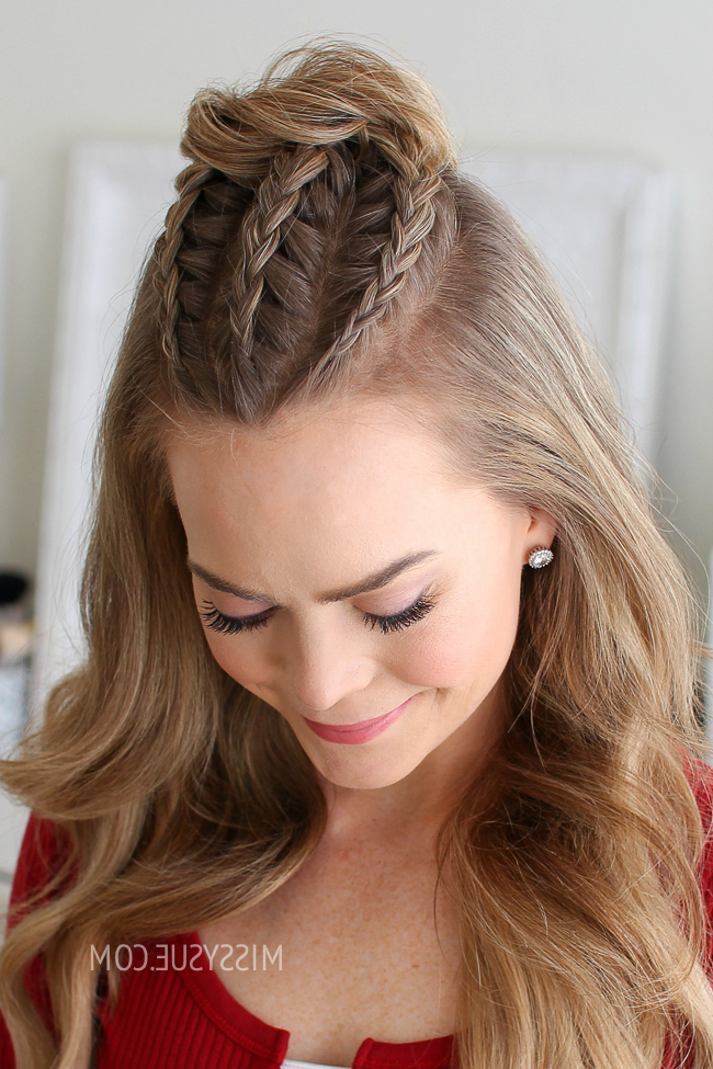 Half Up Triple Braid Mini Bun | Missy Sue With Topknot Hairstyles With Mini Braid (View 4 of 25)