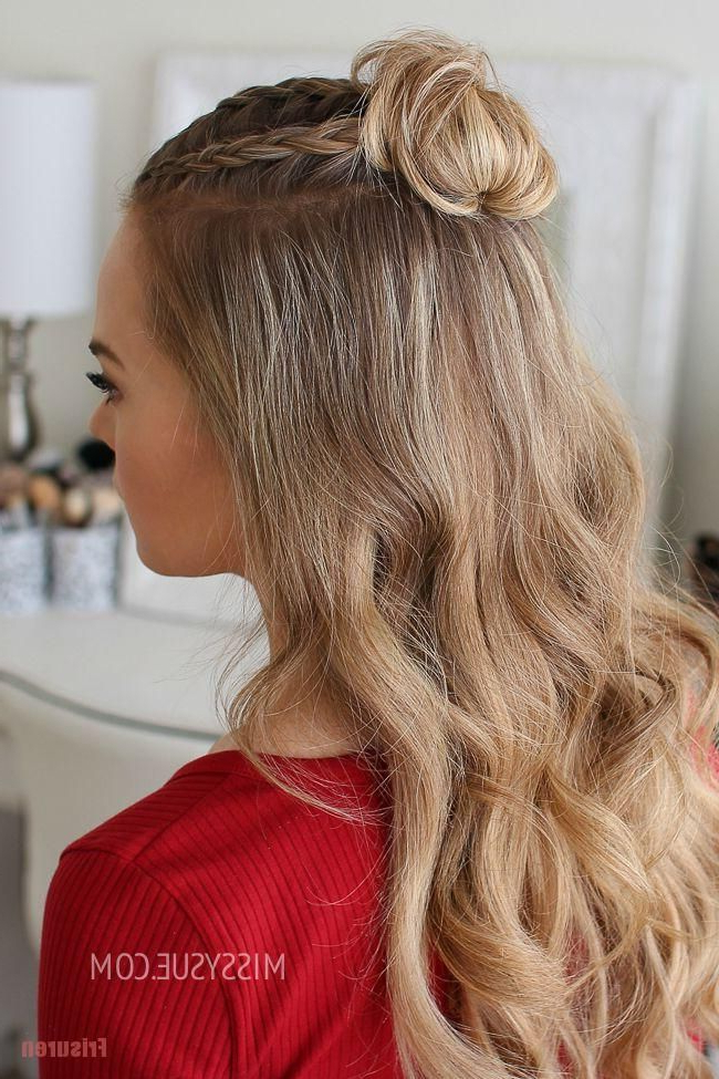 Half Up Triple Braid Mini Bun Shorthair Hairstyles – Home In Mini Braided Buns Updo Hairstyles (View 17 of 25)