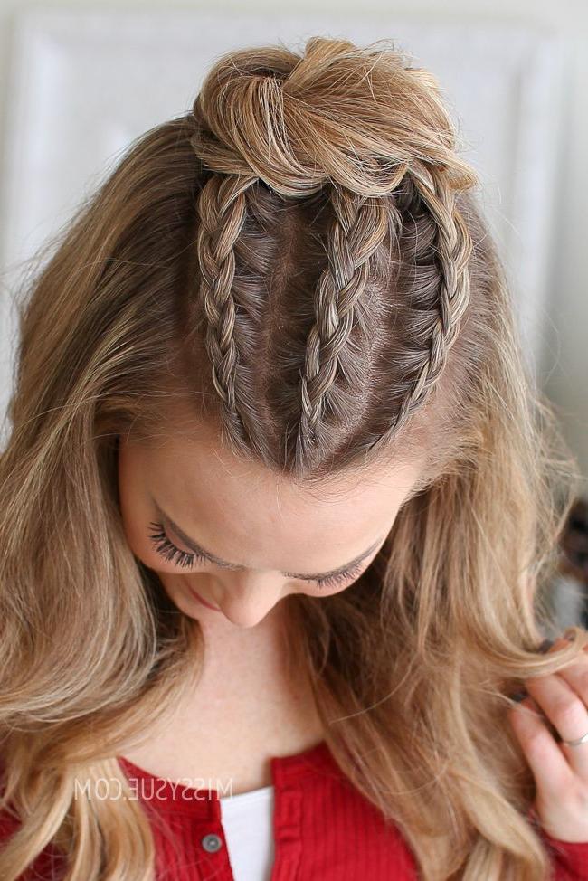 Half Up Triple Braid Mini Bun | Women's World | Hair Styles Inside Mini Braided Buns Updo Hairstyles (View 8 of 25)