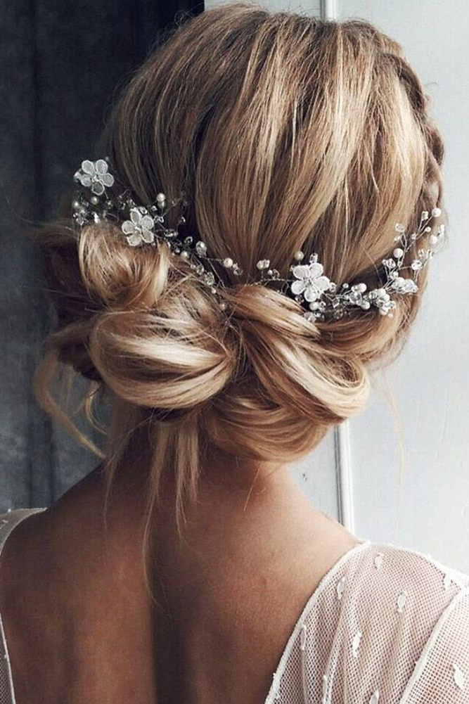 Headband – Silver Pearl And Rhinestone Bridal Headband Or In Pearl Bun Updo Hairstyles (View 14 of 25)