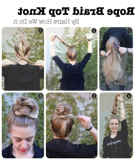 High Bun Updos Tutorials: Rope Braid Top Knot | Amazing Inside High Rope Braid Hairstyles (View 2 of 25)