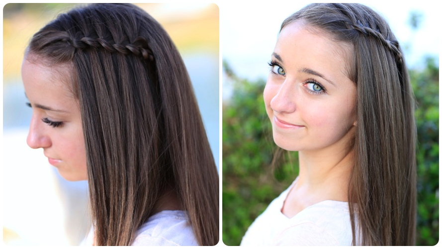 How To Create A 4 Strand Waterfall Braid | Cute Girls Hairstyles Within Current Three Strand Long Side Braided Hairstyles (View 20 of 25)
