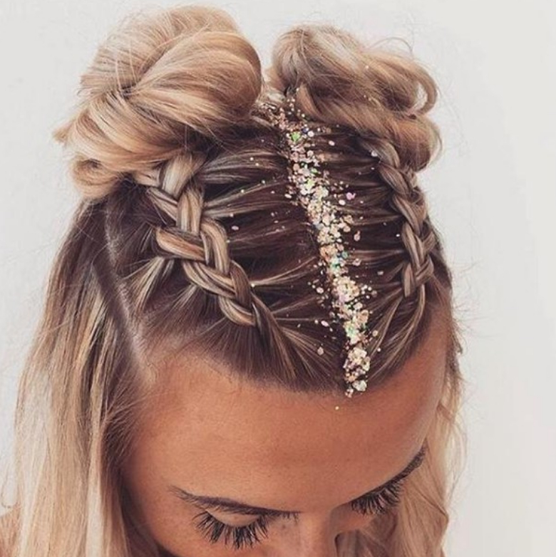 How To: Festival Hair Inside Braided Space Buns Updo Hairstyles (View 8 of 25)