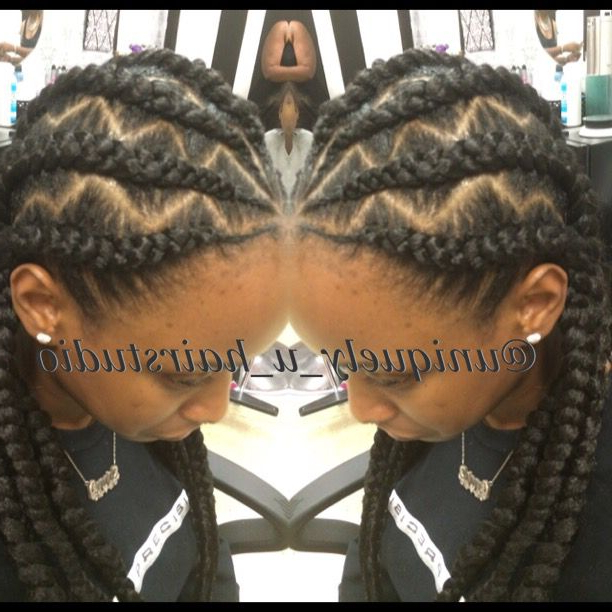 Jumbo Cornrows, Goddess Braids, Natural Hair, Braid Designs Throughout Most Up To Date Zig Zag Cornrows Braided Hairstyles (View 8 of 25)