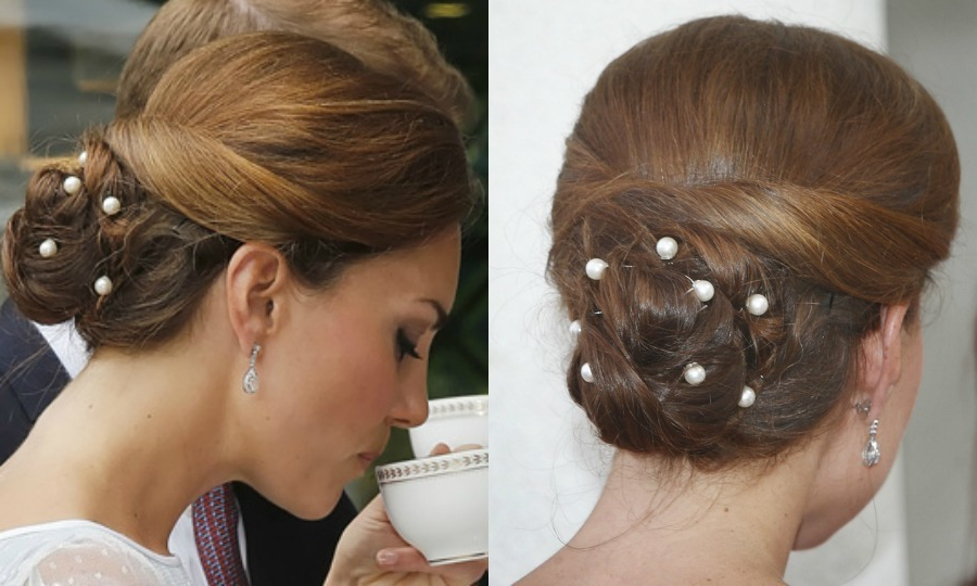 Kate Middleton's Most Party Perfect Updo Hairstyles – Hello For Pearl Bun Updo Hairstyles (View 13 of 25)